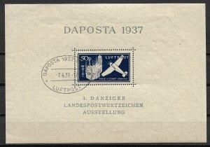 1937 Danzig C41 Danzig Phil. Expo. S/S postmarked 6 June 37