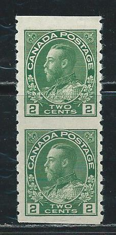 Canada 128 1912-4 2c Coil Vert pair IMPERF between MNH