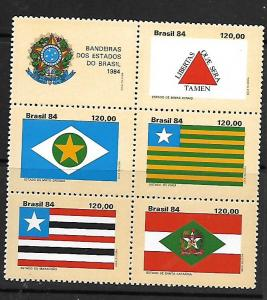 BRAZIL, 1962, MNH, SS, BLOCK OF 5 + LABEL, FLAGS