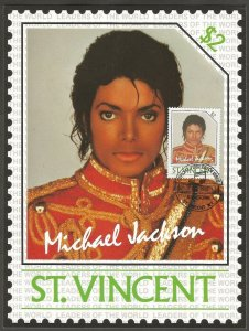ST. VINCENT STAMP,1985 MICHAEL JACKSON $2 STAMP.FIRST DAY OF ISSUE.MAXI CARD