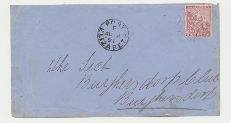 CAPE OF GOOD HOPE, 1881 PORT ELIZABETH TO BURCHERSDORP COVER, 3d RATED