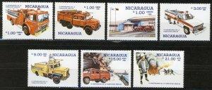 Nicaragua 1985, Fire engines, Sc 1477-1483 SINACOI, Fire brigada 6th Anniv MNH
