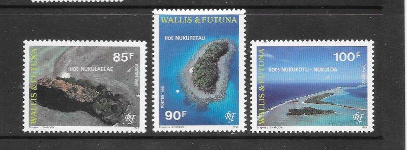 WALLIS & FUTUNA  #465-7  AEIRAL VIEW OF ISLANDS   MNH