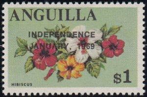 Anguilla 1969 MNH Sc #65 Overprint on $1 Hibiscus Variety
