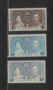 ADEN #13-15 1937 CORONATION ISSUE MINT VF LH O.G