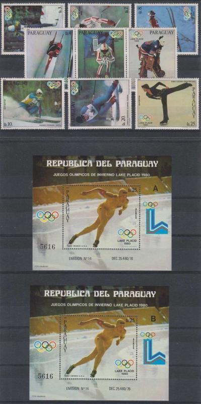 PARAGUAY 1980 OLYMPICS Sc 1953-1956 SET & SOUVENIR SHEETS MNH SCV$62.00++