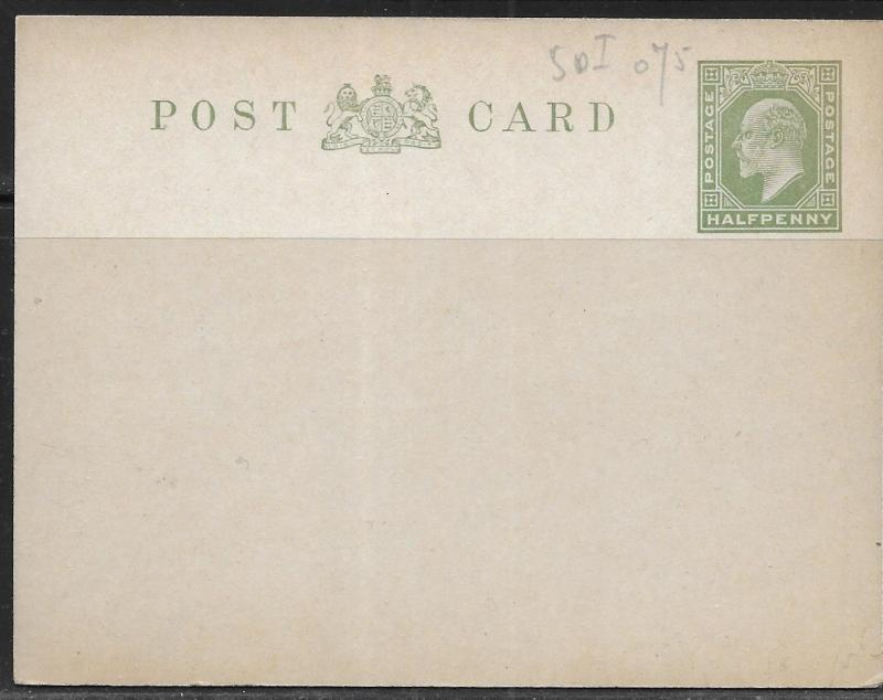 Great Britain Postal Stationery Postcard H&G 35a Mint