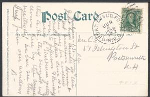 Port & Isl'd Pond R.P.O. June 4 1908 TR2 (Towle#9-N-1), R...