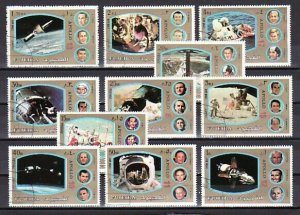 Fujeira, Mi cat. 1344-1354 a. Apollo Programs issue. C.T.O. *