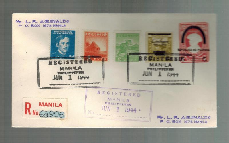 1944 Manila Philippines Japan Occupation Postal Stationery Cover Overprinted 3