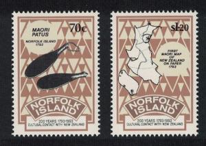 Norfolk Bicentenary of Contact with New Zealand 2v SG#560-561 SC#544-545