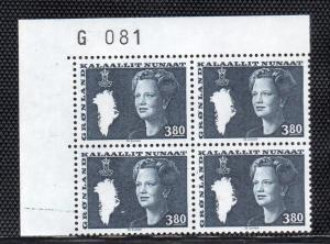 Greenland Sc 131 3.8 kr Queen stamp plate block of 4 mint NH