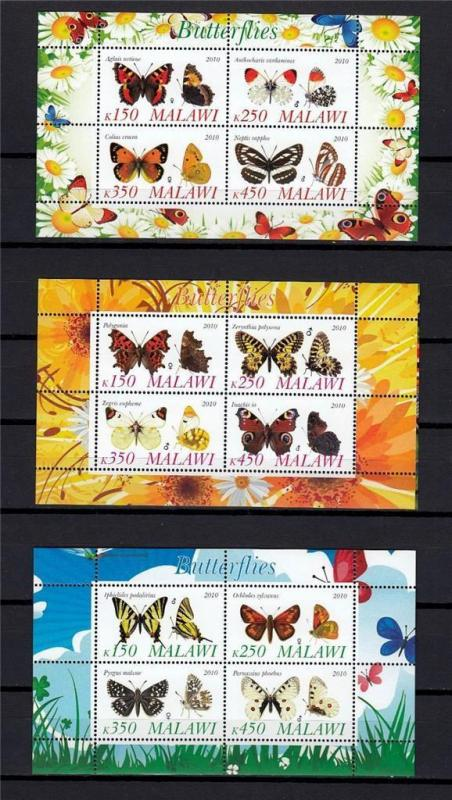 Butterflies 2010 MNH MALAWI Insects Animals Mots 3x Mini Sheets #A2035