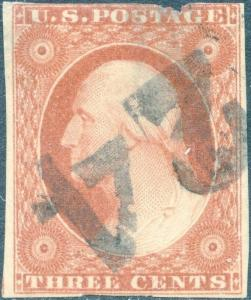 #10 F-VF USED WITH 24 NUMERAL CANCEL CV $215.00 BP2005