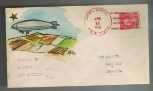 1925 USS Los Angeles NYC USA to Bermuda Zeppelin Airship Cover Hand Drawn!