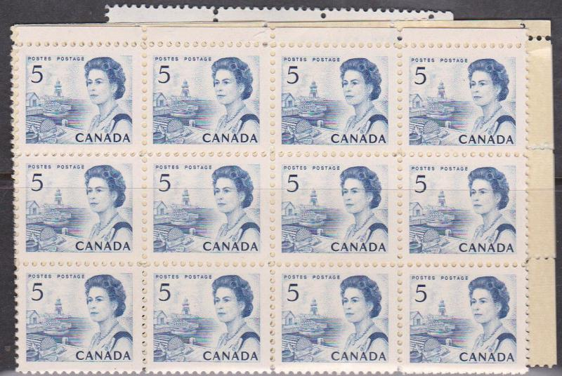 Canada USC #458iii Mint (100) Inc. Blocks - Hibrite Cat. $40. F-VF-NH