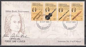 Grenada, Gr., Scott cat. 699-702. Composer Bach issue on a First day cover.