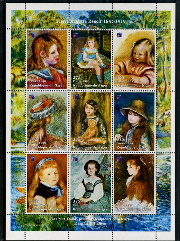 Niger MNH S/S Renoir Paintings 1998 9 Stamps