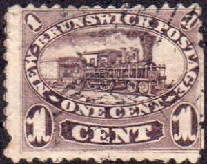 New Brunswick 6 - Used - 1c Steam Train (Faulty) (1860)(cv $32.50)