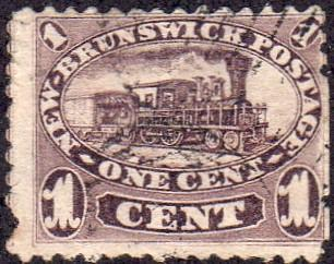 New Brunswick 6 - Used - 1c Steam Train (Faulty) (1860)(cv $32.50)