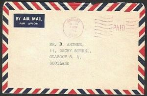 SOLOMON IS 1966 cover to UK Honiara PAID machine cancel in red.............75636