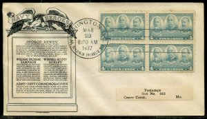 UNITED STATES 1937 4c  NAVY BLOCK OF FOUR FIRST DAY COVER II CACHETED ADDRESSED