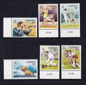 Guernsey  #336-341  MNH  1986  sports