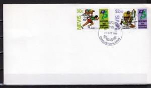 Nevis, Scott cat. 447 & 455. Royal Visit o/p on Scout issue. First day cover.