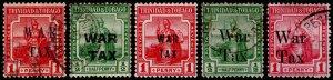 Trinidad & Tobago Scott MR3, MR6, MR10, MR12-MR13(1917-18)U/M H F-VF, CV$13.30 M