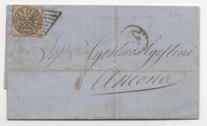 ITALIAN ROMAN STATES Scott #5 IMPERF on Cover 1857 F/L