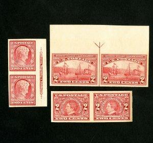 US Stamps # 368 + 71 + 73 Superb Imperf Pairs Set OG NH