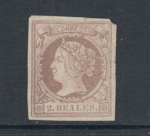 Spain Sc 54 MNG. 1860 2r lilac Queen Isabella II, no gum, small corner chips.