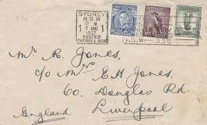 AFD584) Australia 1937 small plain hand written airmail First Day Cover