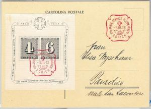 58456 -  SWITZERLAND - POSTAL HISTORY: Block 8 on POSTCARD special postmark 1943