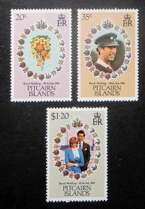 Pitcairn Islands 206-08. 1981 Royal Wedding, NH