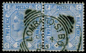 SG157, 2½d blue plate 21, FINE USED, CDS. Cat £90. PAIR. CE CF