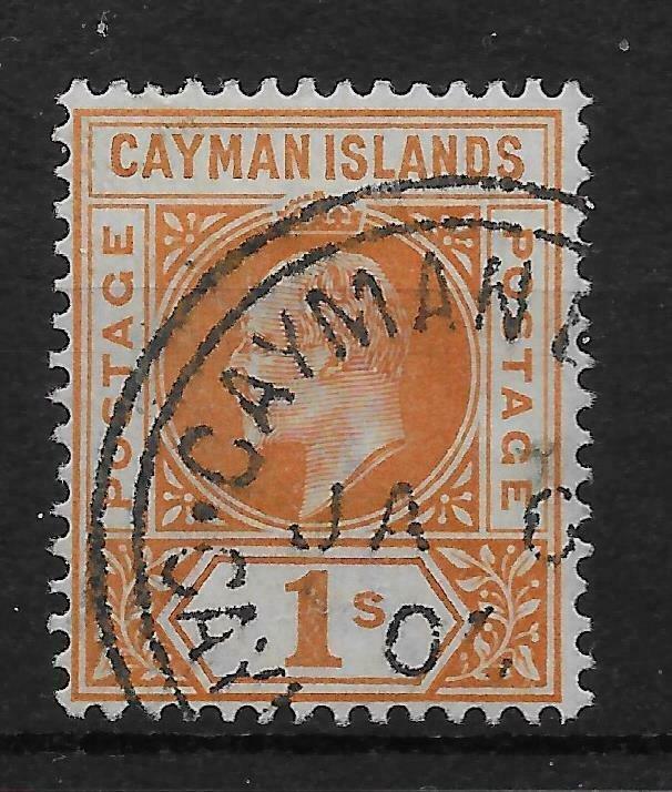 CAYMAN ISLANDS SG7 1902 1/= ORANGE FINE USED