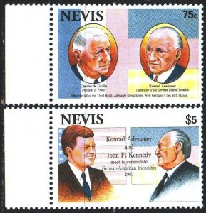 Nevis. 1993. 716-17. Kennedy, President of the United States, Adenauer. MNH.