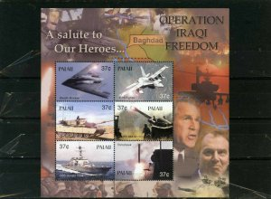PALAU 2003 MILITARY AVIATION & SHIPS SHEET OF 6 STAMPS MNH