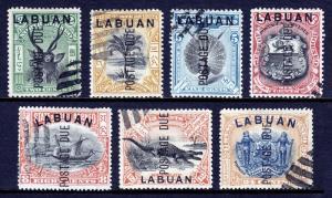 LABUAN — SCOTT J1//J9 (SG D1//D9) — 1904 POSTAGE DUE ISSUE — USED — SCV $19.20