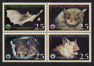 Cyprus WWF Mediterranean Horseshoe Bat Block of 4 SG#1053-1056