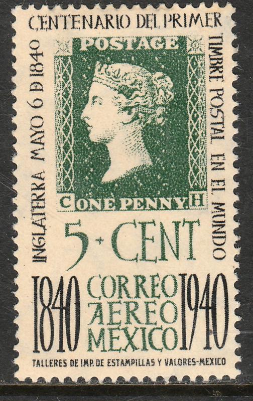 MEXICO C103, 5¢ PENNY BLACK CENTENNIAL. UNUSED, H OG. F-VF.