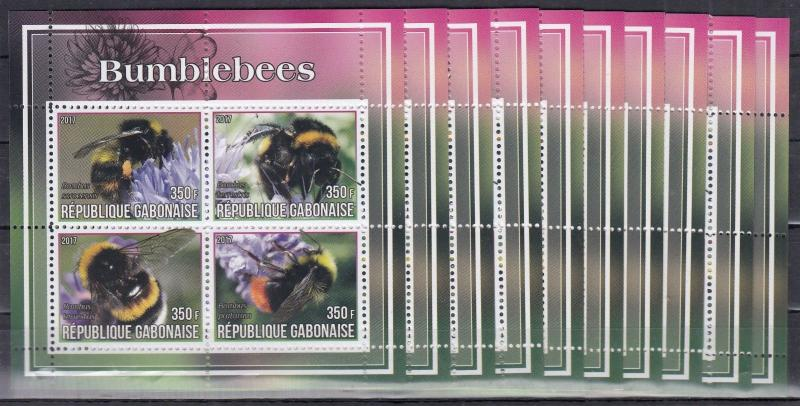 10x Animals Nature Bees Bumblebees perf Private Local issue - Wholesale not MNH