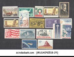 UNITED STATES USA - 1962 COMMEMORATIVE SET SCOTT#1191-1207 COMPL. 17V MNH