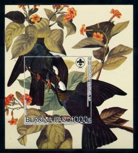 [93786] Burkina Faso 1985 Birds Vögel Audubon Scouting Imperf. Sheet MNH