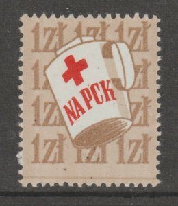 Poland Cinderella revenue fiscal stamp 3-23- Red Cross