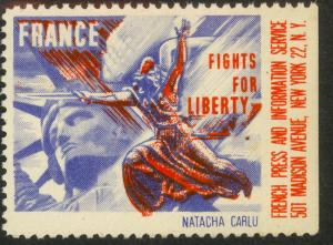USA FRANCE 1941 FRANCE FIGHTS FOR LIBERTY NATACHA CARLU Label MNH