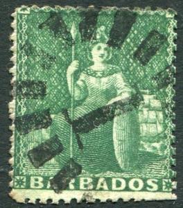 BARBADOS-1861 ½d Deep Green Sg 17 GOOD USED  V23853