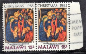 MALAWI   SC# 475  USED 1985  15t  CHRISTMAS  PAIR  SEE SCAN