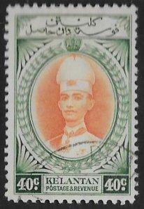MALAYA KELANTAN SG50 1937 40c ORANGE & BLUE-GREEN USED
